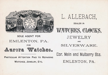 Aurora Watches - L. Allenbach, Emlenton, PA. Postcard Advertisement