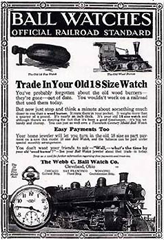 Ball Watch Co. Ad encouraged railroad workworkers to buy a new 16-size Ball watch