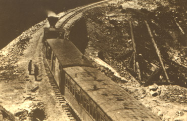 Central Pacific train at Emigrant Gap (AA Hart, courtesy NY Historical Society