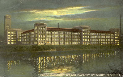Elgin National Watch factory at night