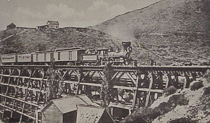 V&T Train crosses Gold Hill Trestle