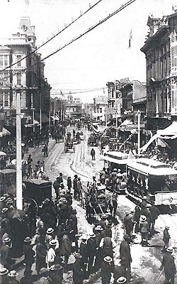 Los Angeles Cable Railway on Spring St, opening day June 8, 1889 (huntington Library)