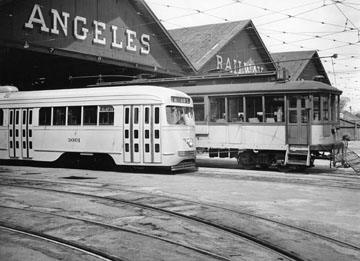 Los Angeles Railway PCC Car in foreground
