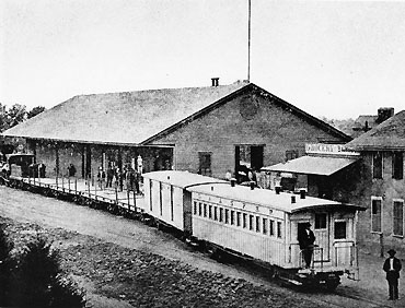 Los Angeles & San Pedro Railroad depot at Alameda and Commercial, circa 1870, Courtesy of the Dick Whittington Photography Collection, USC Libraries.