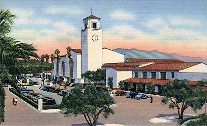 LA Union Station shortly after opening in 1939, Western Publishing & Novelty Co. photo