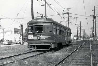 Pacific Electric Car No. 5121 on Vineland Ave. in North Hollywood circa 1950