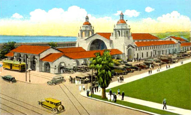 Sandiego Union Station 1920, postcard view