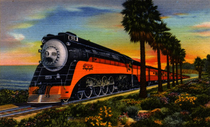 Southern Pacific Daylight Passenger train pulled by Steam Locomptive No. 4412