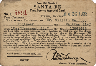 Santa Fe Time Service Approval Card, Form 1641 Standard, 1933