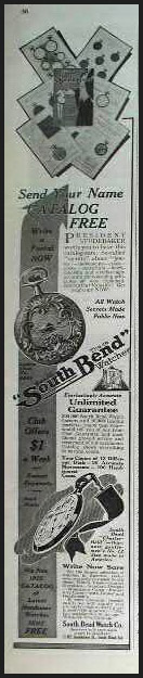 South Bend Watch Co Ad, 1913