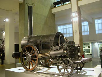 Stephenson's Rocket on display at the Science Museum, London