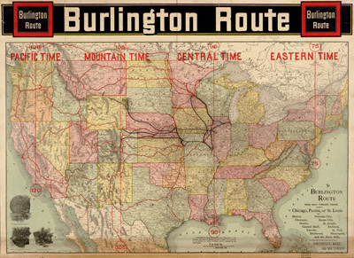 Chicago Burlington Quincy Map, 1892, Rand Mc Nally Corp. courtesy Library of Congress, Geography and Map Division