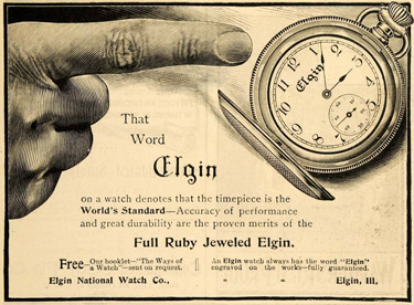 Elgin on a watch advertisement circa 1900