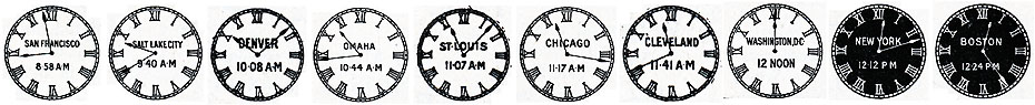 Time of Different Places at Noon Washington DC, from the Hamilton Railroad Timekeeper, 1911