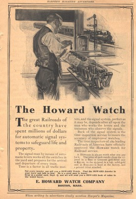 The Howard Watch advertisement in Harpers Magazine circa 1910