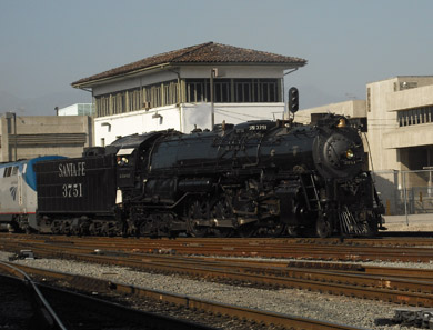 Santa Fe 3751 Passes Terminal Tower in Los Angeles (photo by Richard Boehle)