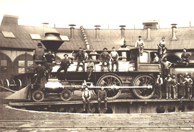 Railroad workers pose with UP Locomotive No. 10